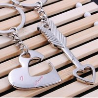 Wholesale Star Key Fob - Couple Heart Keychain Hot Sale Zinc Alloy Silver Plated Lovers Keychain Gift Fashion Keyring Key Fob Creative Key Chain
