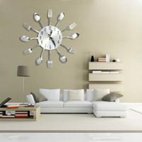 agulha de relógio de quartzo venda por atacado-3d diy relógios de parede de decoração para casa design moderno faca de aço inoxidável colher garfo relógio de parede analógico cozinha de quartzo faca de agulha garfo relógio + b