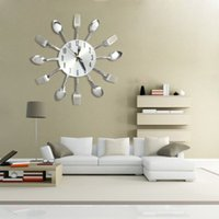 aguja de reloj de cuarzo al por mayor-3D DIY Relojes de pared Decoración para el hogar Diseño moderno Cuchillo de acero inoxidable Tenedor Cuchara Reloj de pared analógico Cocina Aguja de cuarzo Cuchillo Tenedor Reloj + B