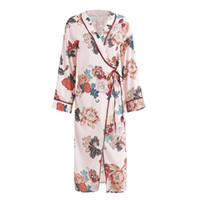 Wholesale Elegant Summer Cardigans - Elegant floral printed long kimono blouses Women long sleeve sashes bow kimono cardigan blouse shirt Summer beach v neck blouse blusas 2017