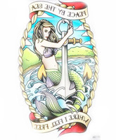 Wholesale anchor eyes - Wholesale- Sexy Beauty Body Art Temporary Tattoo Stickers Beautiful Mermaid with Anchor Wahterproof Tattoo the Peace by the Sea AX179