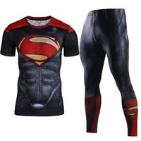 Short black suit spiderman - Men s Compression Sets Workout Base Layers Shirts D Superheros Joggers Fitness Jersey Suits Running Sets Superman Batman Spiderman Captain
