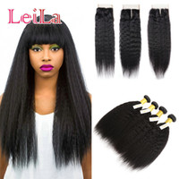 Wholesale coarse straight hair online - Indian Kinky Straight Bundles with X4 Lace Closure Human Hair Pieces Coarse Yaki