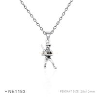 Wholesale Baseball Necklace Charms Silver - Antique Silver Plated Baseball Bat Player Mitt Charm pendants Chain Necklaces Birthday Necklaces For Women Men Platinum Metal Necklaces