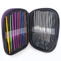 Wholesale 22Pcs Aluminum Crochet Hooks Needles Set Multi colour Knit Weave Craft Yarn Sewing Tools Crochet Hooks Knitting Needles