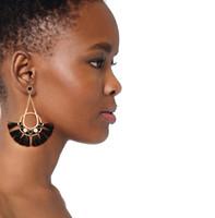 Wholesale Plated Wholesale Skirt - Wholesale Bohemian national wind earrings, European and American jewelry tassel earrings, personality exaggerated fan-shaped skirt earrings