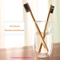 лучшие цены таймеры оптовых-2*бамбуковая зубная щетка, чистый естественный бамбук, особенная бамбуковая голова зубной щетки волокна волокна волокна, защитить устное здоровье, забеливая зубы .