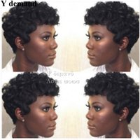 Wholesale Deep Wave Synthetic Weave - Fashion Pixie Cut Hair Synthetic Short Black Weave Bangs Kinky Curly Hairstyle For Black Women Afro Heat Resistant Y demand