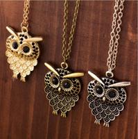 baykuş kolye yeni moda toptan satış-Vintage Gömülü matkap Hollow oyma Baykuş Kolye Kolye Yeni kızın Moda Jewellry Gümüş Vintage Güzel Büyük Gözler Baykuş Charms