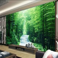 Wholesale Scenery Trees Painting - Free Shipping 3D Stereo Custom Fresh Green Natural Scenery Tree Wall Painting Wallpaper Living Room Bamboo Wallpaper Mural