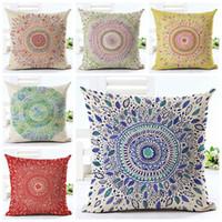 Wholesale Decorative Bohemian Pillows - ethnic mandala cushion cover 45cm linen chaise sofa throw pillow case scandinavian almofada decorative bohemian cojines