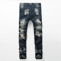 Wholesale Hip Hop Jeans For Sale - Hot sale fashion brand for men ripped holes jeans frayed destroyed Slim Retro denim biker casual pants hip-hop