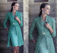 Wholesale Short Formal Dresses Turquoise - Lace Short Mother Of The Bride Dresses Long Sleeves Satin Sheath Turquoise Green Elegant Mother Of The Groom Dresses Women Formal Dresses