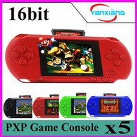 Wholesale 16 Bit Handheld Game Console - 5PCS 16 Bit Handheld Game Player Video Game Console with AV Cable Support TV-out 2 Game Card Slim Station Classic YX-PXP3-1