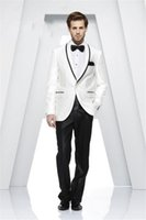 Wholesale Best Wedding Dresses Suits - Wholesale- Custom Made Shawl Collar White Men Suits Best Men Wedding Suits Groom Tuxedos Casual Dinner Prom Dress (Jacket+Pants+Ti