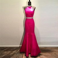 Halter Elegante Fuchsia Ballkleider 2017 Meerjungfrau Backless Pailletten Perlen bodenlangen Satin Pageant Kleider Party Kleid WH189