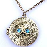 Wholesale Bronze Choker - Lady Girl Fashion Retro Chic Owl Eye Statement Bib Choker Bronze Pendant Chain Necklace Jewelry Gift