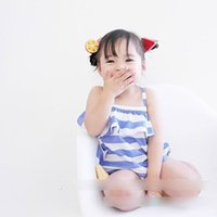 Wholesale Striped Girls Tank Top - Summer Baby Girls Clothing Sets Infant Clothing Set Striped Lotus leaf Tank Tops + Brief Short Underpant Pants 2piece Suits Sets Blue A6837