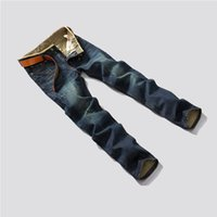 Wholesale Trousers Classical - Casual Men Long Pants Trousers Jeans Classical Fashion Men Navy Blue Slim Denim Plus Size Straight Legs Pants
