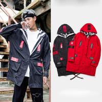 Wholesale Jackets Hoods For Men - BF tide hip hop jackets for men fashion autumn long sleeve motorcycle jackets men high street hood jacket free shipping