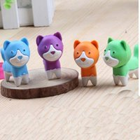 Wholesale Toy Erasers Free Shipping - 10pcs Lot Cartoon Dog Shape Mini Animal Rubber Eraser Cleansing Stationery Child Gift Toy Cute Eraser For Kid School Suppliers Free Shipping