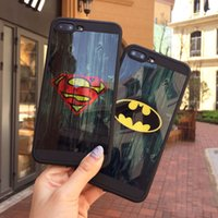 Wholesale Superman Phone Covers - Fashion Brand Mirror Skin Superman Batman Captain America Soft TPU Phone Cover Case for iPhone 6 6S Plus 7 Plus Capa Coque Funda