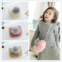 Wholesale One Shoulder Bowknot - Baby girl princess bags infants autumn and winter mini handbags baby girl bowknot messenger bag girl pom pom balls one shoulder bags