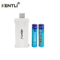 Wholesale Rechargeable Battery Aa Charger - KENTLI 2pcs AAA PH7 rechargeable polymer lithium li-ion batteries+2 slots PLIB AA AAA charger
