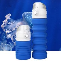 Wholesale Sport Children Water Bottle - Silicone Water Bottle Folding Foldable Drinkware Portable Outdoor Cup Travel Collapsible Drinking Retractable Flask Sports Cycling Traveling