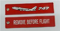 ingrosso anti anello statico-747 Rimuovi prima del volo Etichetta per bagaglio Cerniera Tirato Portachiavi per ricamo in tessuto 13 x 2,8 cm Lotto 100 pezzi