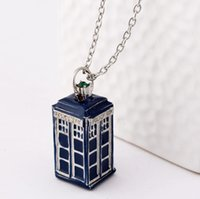 Wholesale police box necklace - dr doctor who necklace tardis police box vintage blue silver bronze pendant jewelry for men and women wholesale a376
