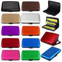 porta tarjetas de bolsillo de aluminio al por mayor-Impermeable Identificación comercial Tarjeta de crédito Titular de la cartera Caja de bolsillo de metal de aluminio Caja de metal Caja de billeteras de dinero