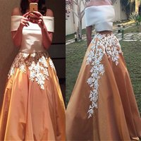 Wholesale Water Stone Color - Charming Satin Off-the-shoulder Neckline Two-piece A-line Saudi Arabia Style Prom Dresses Two Stones Applique Lace Evening Dress