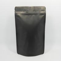 Wholesale Square Valve - 100Pcs  Lot 10*15cm Zipper Matte Black Doypack Pure Aluminum Foil Valve Pouch Food Storage Heat Seal Mylar Stand Up Package Bags