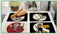 schädelmatte großhandel-Cartoon Punk Schädel Tischset Baumwollgewebe Tischset Geschirr Untersetzer Für Küchenzubehör Mat Pad 42 * 32 CM Tuch Tischsets