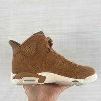 Wholesale Mens High Top Tennis Shoes - Air Sail-Golden Harvest Retro 6 Mens basketball shoes Golden Harvest Suede Sneaker 6s high tops tennis footwear With box SIZE 9 & 10.5