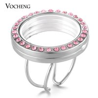 Wholesale Globe Rings - VOCHENG 30mm Glass Globe Lockets Ring for Floating Charms Women Resizable with Rhinestone 3 Colors Round Openable VA-246