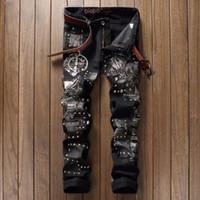 Wholesale Heavy Pants - Wholesale- European American Patchwork Heavy metal rock men jeans Men's Rivet denim zipper Slim fit straight Patchwork jeans pants for men