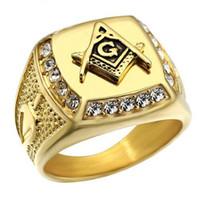 Wholesale mason rings men - MCW Rock Rings Iced Out Gold Color Titanium Steel Freemason Free Mason Masonic Signet Rings for Men Jewelry
