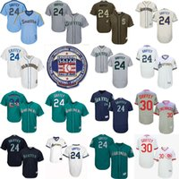 Wholesale Griffey S - 2016 Hall Of Fame Induction patch Authentic Collection Men's Seattle Mariners 24 Ken Griffey Jr 11 Edgar Martinez baseball jerseys Stitched