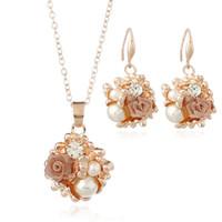 Wholesale 14k Gold Flower Earrings - Earrings Necklaces Ring Sets Fashion Women Elegant Flower Style Rhinestone Gold Plated Jewelry Sets 2-Piece Set Wholesale JS252