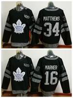 ingrosso foglia di acero-100 ° Toronto Maple Leafs Maglie 2017 Hockey su ghiaccio 34 James Reimer 16 Mitch Marner Uniformi nere Fashion All Stitched Top Quality On Sale