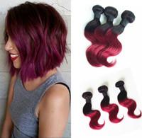 ingrosso estensioni dei capelli umani online-Tessuto dei capelli umani Tessuto da 10 pollici Ombre Colorato Tessuto a due tonalità di capelli 1B / Stile onda Borgogna in diversi modi