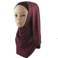 Wholesale Muslim Material - Long Shape Rhinestones Muslim Hijabs Sequin Cotton Jersey Scarves 170*50CM Soft Material Pure Color Free Shipping
