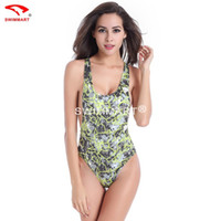 Wholesale Wetsuit 2xl - Super sexy swimsuit backless wetsuit High fork triangle conjoined printing straps swimsuit