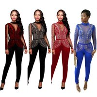 Wholesale Jumpsuits Fashion Design - 2017 New Design Luxury Cystal Long Women Jumpsuits Full Beaded High Neck Sheer Long Sleeve Fashion Women Pants Suits High Quality Real Image