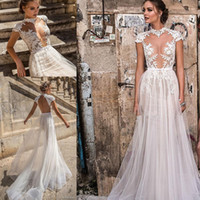 Wholesale deep sweetheart neckline wedding dresses resale online - heavily embellished bodice sexy wedding dresses muse berta bridal cap sleeves high neck deep plunging sweetheart neckline wedding gowns