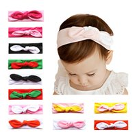 Wholesale Baby Ear Band - 2017 latest hair accessories Colorful Cute hair bands elastic Bunny Ear Baby headbands - Soft Toddler scrunchy Bow cotton fabric head wraps