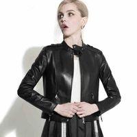 Wholesale Womens Black Sheepskin Coat - Hot sales Genuine Leather Jacket Women Sheepskin Zipper Womens Coats And Jackets Winter 2017 Black Leather Jacket