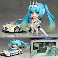 Wholesale Miku Racing - Anime Racing Hatsune Miku figures collection 517# Q Ver. race queen Miku box-packed 12cm Nendoroid cartoon model dolls T7176